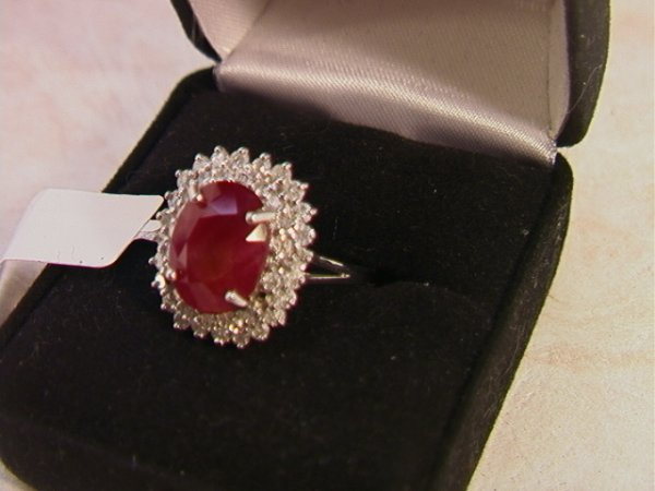 505: 14K Ruby and Diamond Ring.  5.15 ct ruby and 1.10
