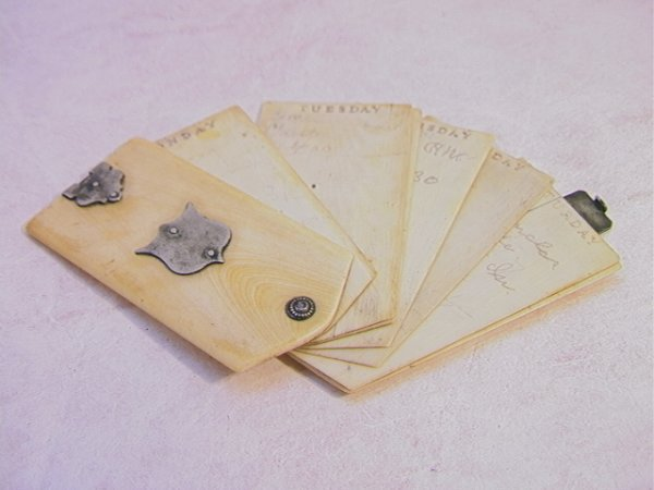 506: Victorian Ivory and Silver Folding note card.  Unm