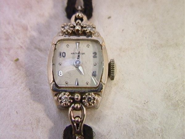 512: 14K gold and Diamond Ladies Hamilton Watch   Dimen