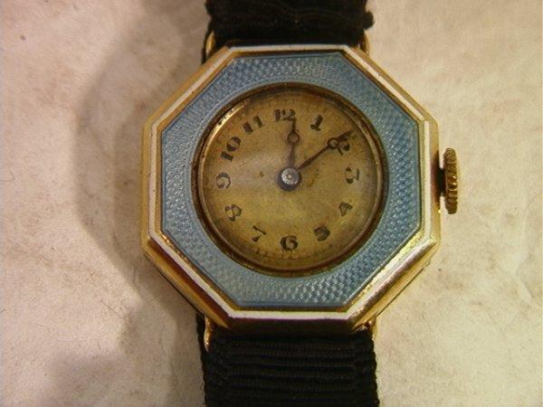 513: 14K Gold Lecoultre Enamel Ladies Watch.  Blue Enam