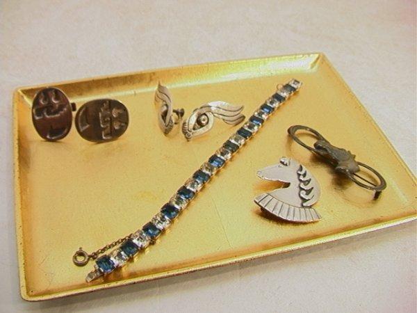 517: Vintage lot sterling Jewelry.  Taxco Earrings, Two