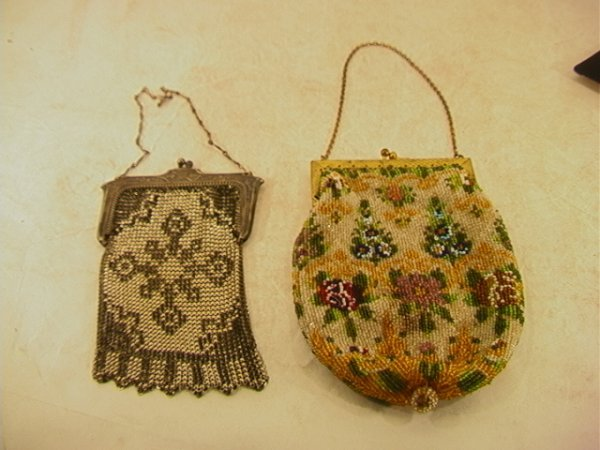 518: 2 Vintage Victorian Purses. Metal mesh and Glass b