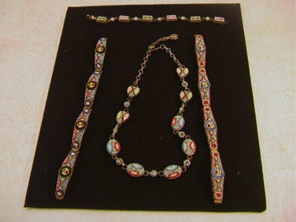 519: 4pcs Micro mosaic jewelry.  Necklace and 3 Bracele