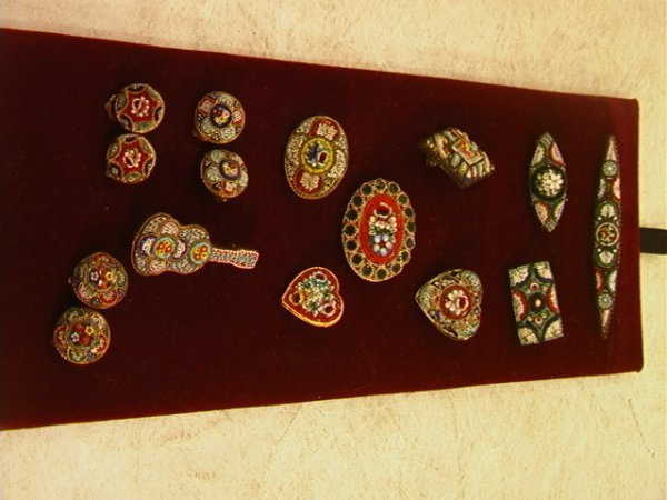 520: Large lot Micro Mosaic Jewelry Pins and Earrings.