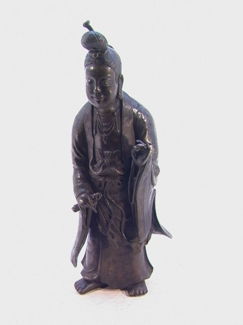 608: Large Oriental Bronze Figure Sculpture of Fele Fig