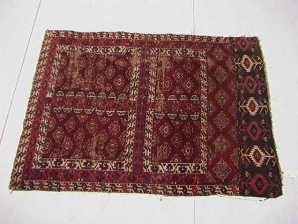 682: 5'3x3'9 TURKOMAN Yamut Oriental Throw Carpet.