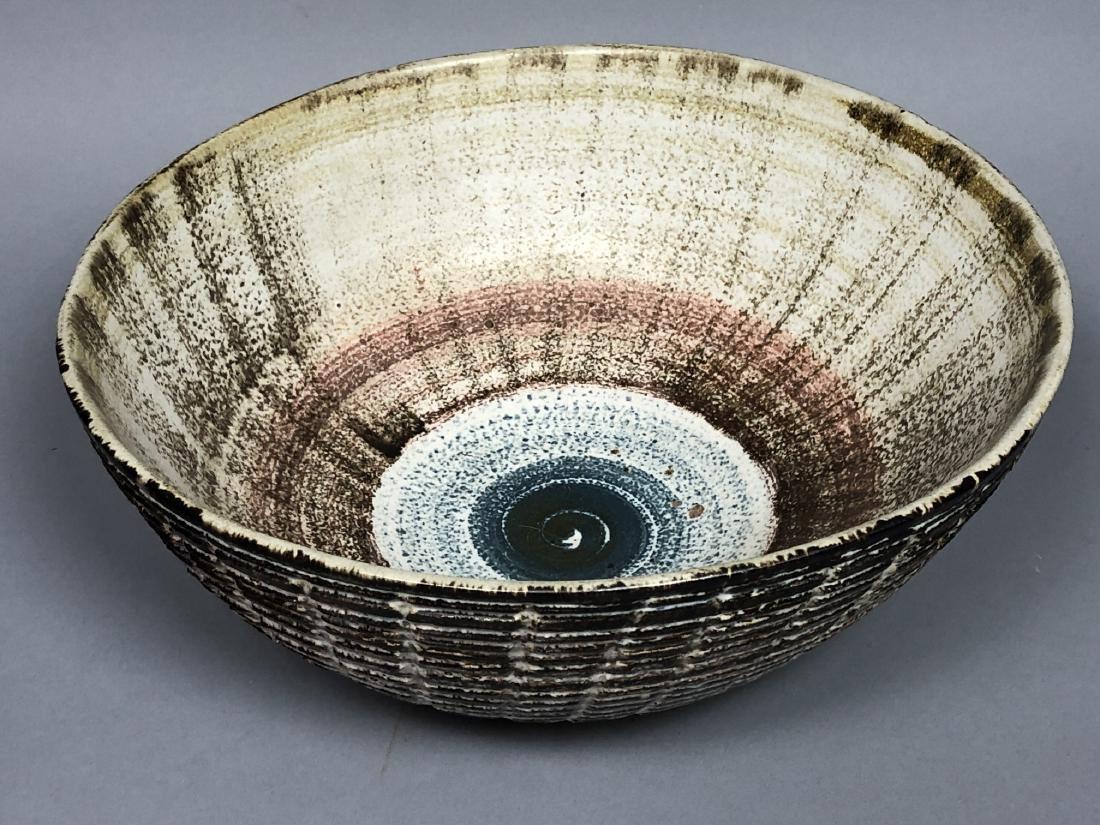 Large Mid Century Modern Pottery Center Bowl. Bro