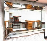 Lg Modernist Wall Mirror. Shaped beveled mirror f