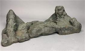 Abstract Modernist Bronze Figural Sculpture Recl