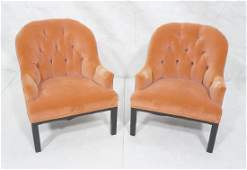 Pr Modernist  Rose Velvet Arm Lounge Chairs. Tuft