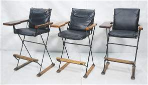 Set 3 Cleo Baldon Wood Modernist Bar Stools Each