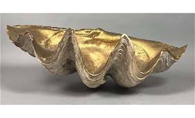 Gold Painted Large Clam Shell. Natural shell exte