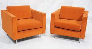 Pr Orange Velvet Cube Modernist Lounge Chairs. Lo