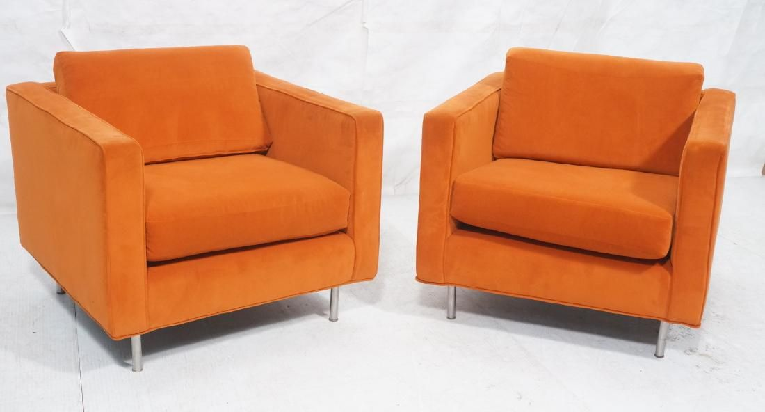 Pr Orange Velvet Cube Modernist Lounge Chairs. Lo