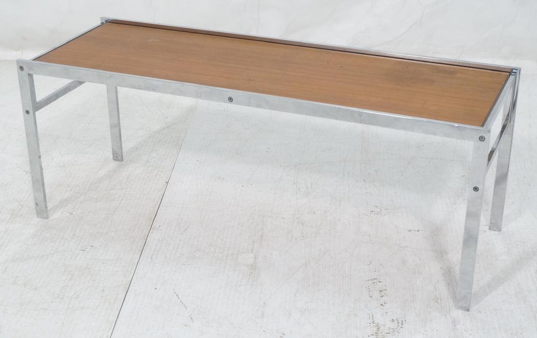 Modernist Chrome Frame Small Coffee Table. Inset