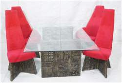 "5pc ADRIAN PEARSALL ""Goop"" Modernist Dining Set."