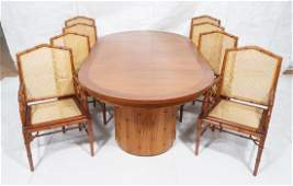 9 pc Dining Room Set. 8 Carved Wood Faux Bamboo D