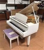 YAMAHA White Lacquered Baby Grand Piano Matching