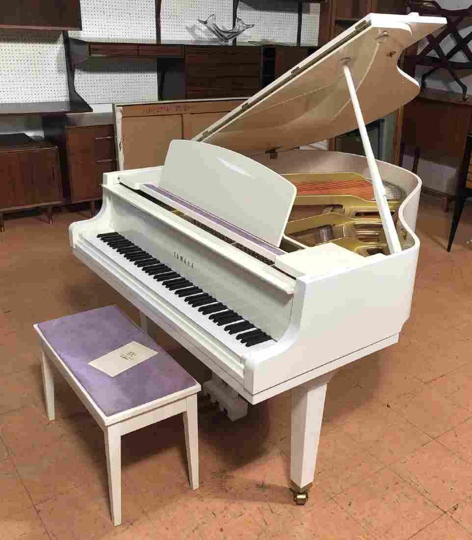 YAMAHA White Lacquered Baby Grand Piano. Matching