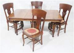 Vintage 5pc Oak Dining Set Dining table with dec