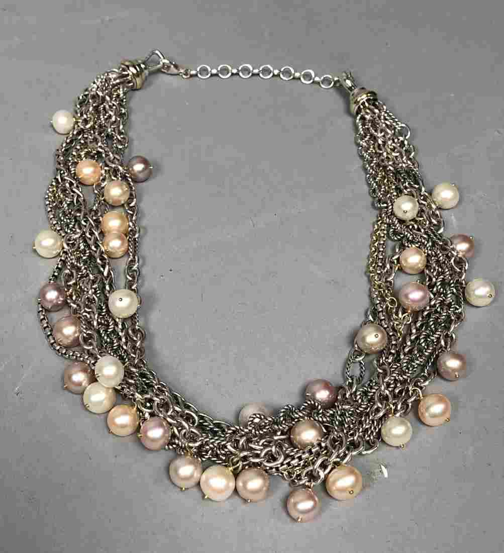 DAVID YURMAN 18K Gold Sterling Pearl Necklace. 7