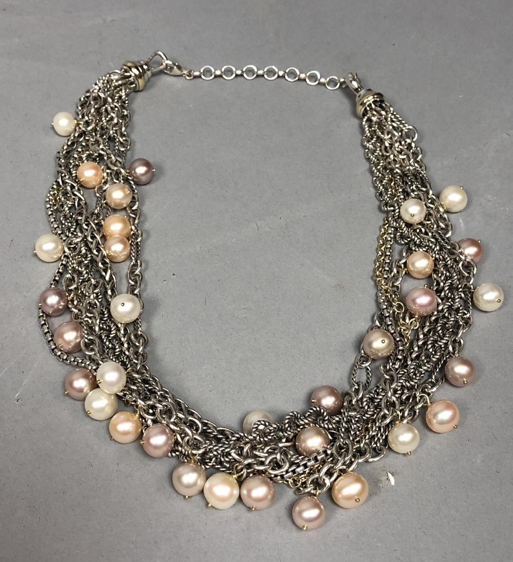 DAVID YURMAN 18K Gold Sterling Pearl Necklace. 7