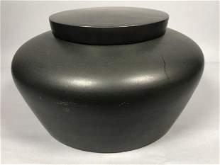 Large BO JIA Chinese Gunmetal Glaze Lidded Vessel