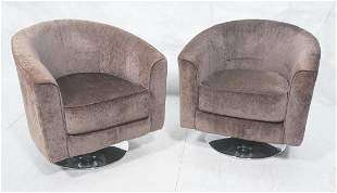 Pr Modernist Barrel Back Lounge Chairs Chrome Bas
