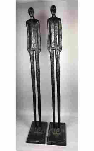 Pr Tall Thin Man Modernist Metal Sculptures. Elon