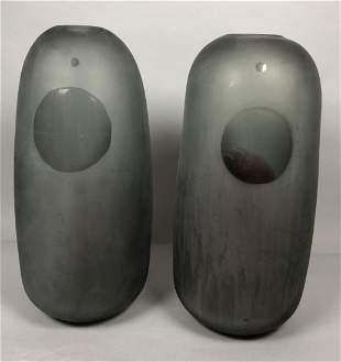 2pc SALVIATI Murano Italian Tall Vases. Frosted g