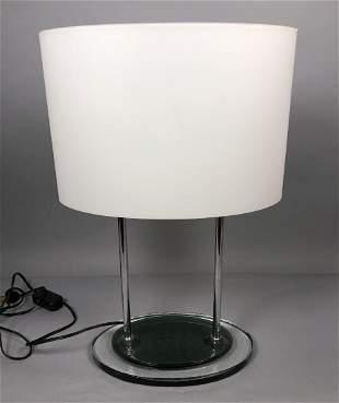 Modernist Italian Style Glass Table Lamp. Mottled