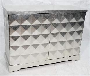 BAKER Silver Foil Leaf Credenza Cabinet. BARBARA