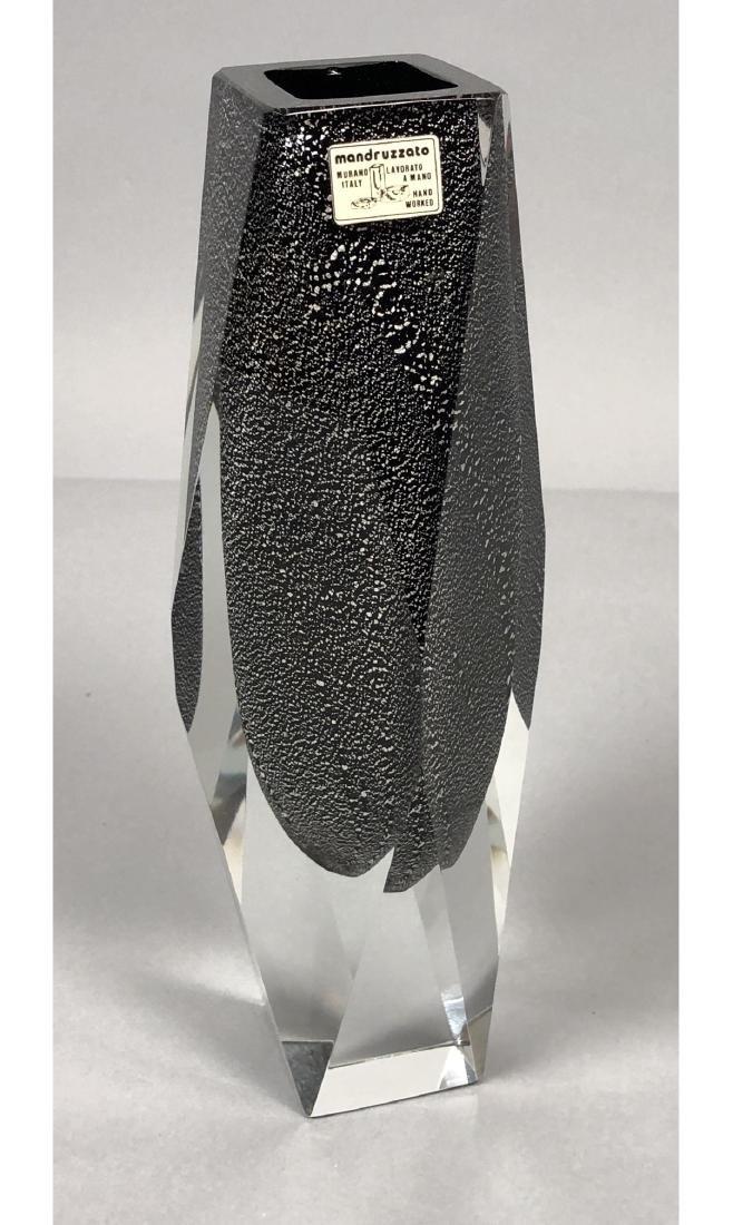 MANDRUZZATO Murano Italy Art Glass Vase. Faceted