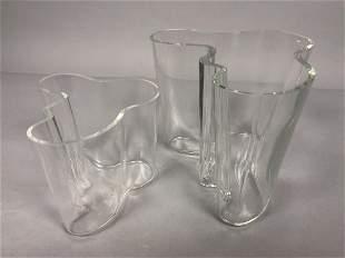 Pr ALVAR AALTO Iittala Freeform Modernist Vases.