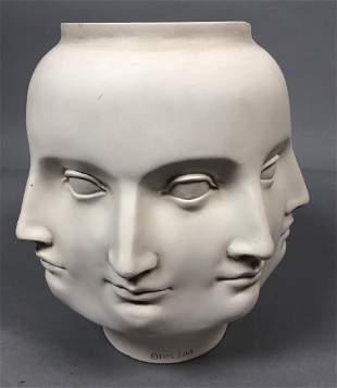 Fornasetti style Off White Multi Face Vase. Marke