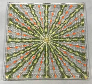 HIGGINS Modernist Square Art Glass Plate Tray. Gr