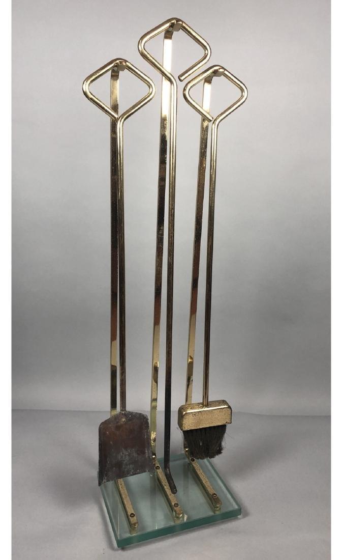 Modernist Brass & Glass Fireplace Tool Set. Thick