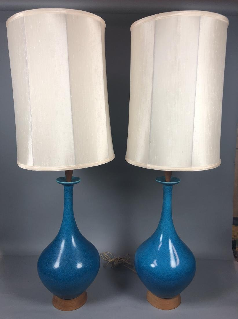 Pr Modernist Rich Turquoise Glazed Table Lamps. E
