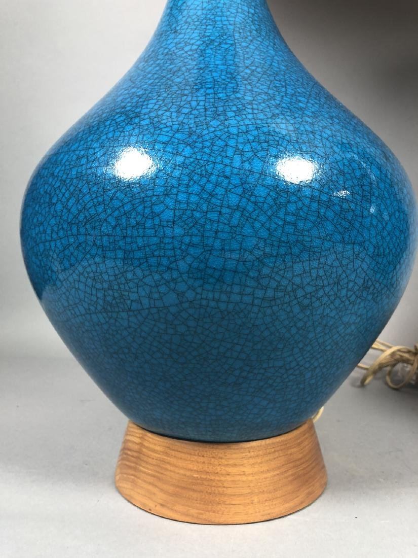 Pr Modernist Rich Turquoise Glazed Table Lamps. E - 3