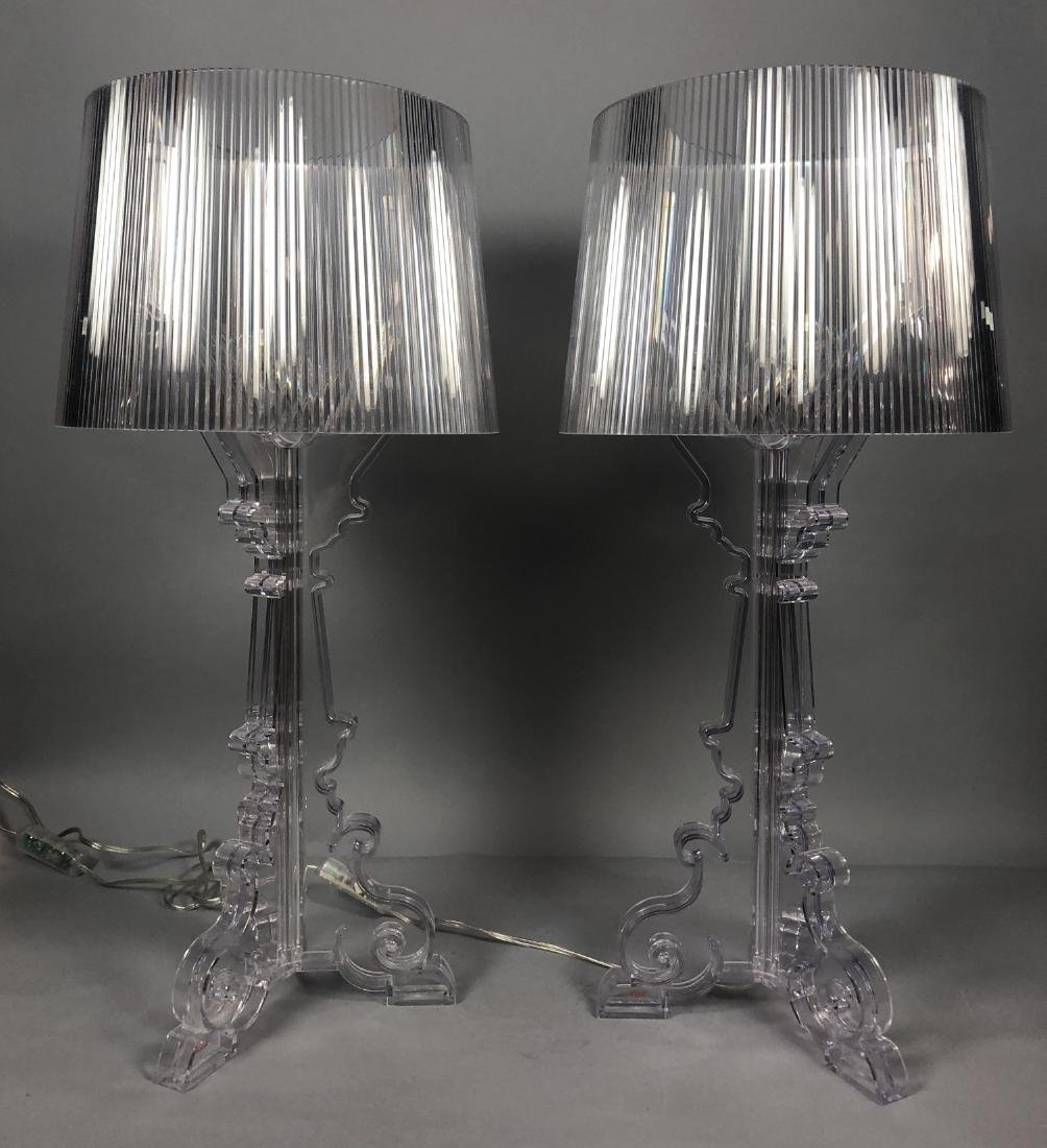 Pr KARTELL by F. LAVIANI Lucite 'Ghost' Lamps. Cl