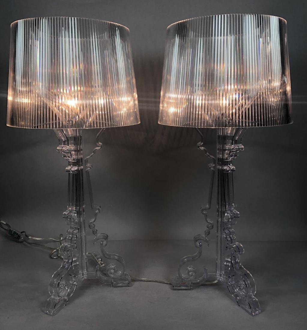Pr KARTELL by F. LAVIANI Lucite 'Ghost' Lamps. Cl - 2