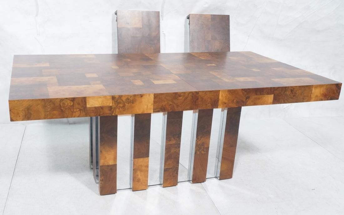 PAUL EVANS Burled Walnut Modernist Dining Table.