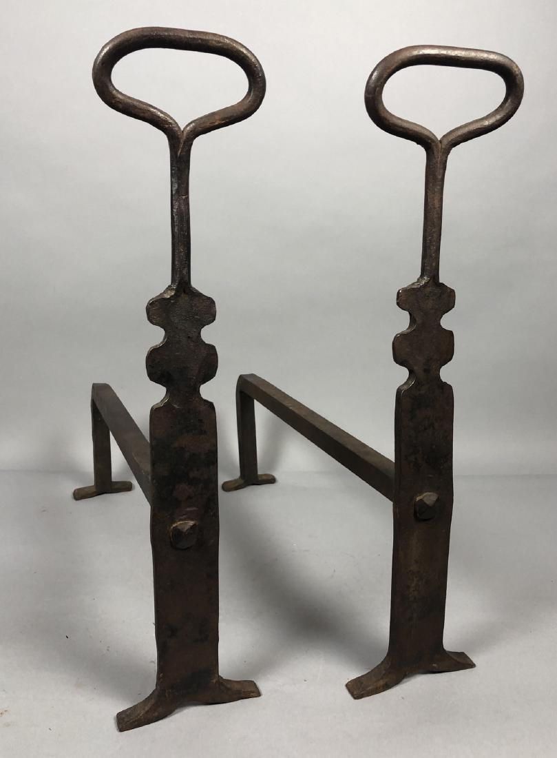 Pr Heavy Iron Modernist Andirons. Clean simple fo
