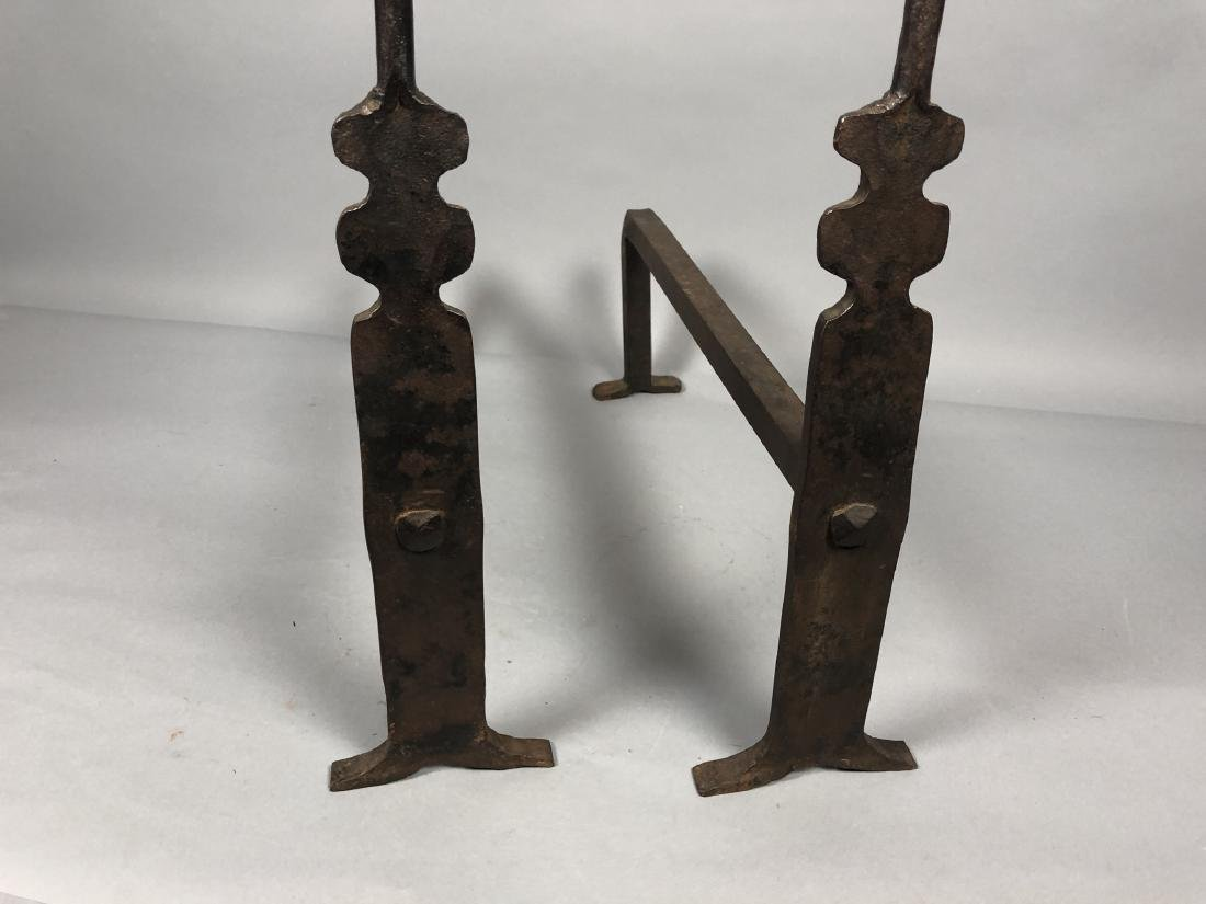 Pr Heavy Iron Modernist Andirons. Clean simple fo - 4