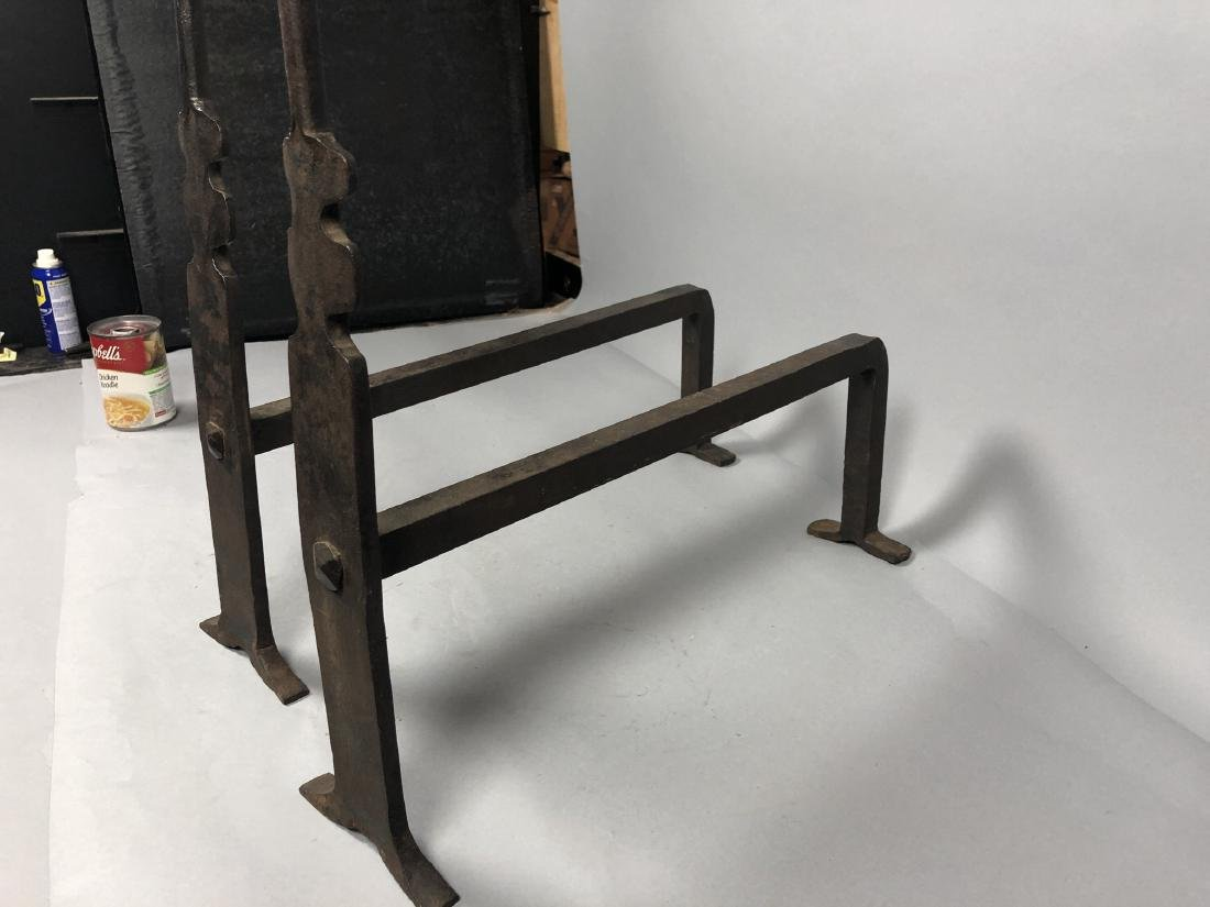 Pr Heavy Iron Modernist Andirons. Clean simple fo - 6