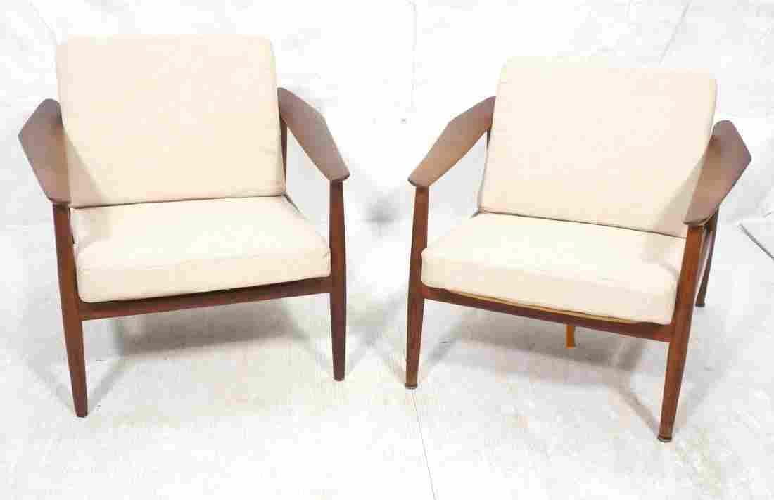 Pr FRANCE & SONS Teak Lounge Chairs. Decorative f