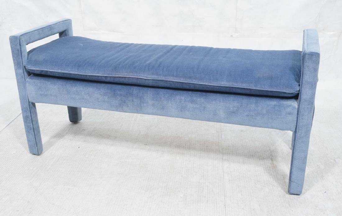 Parsons Style Blue Upholstered Bench Seat Comple