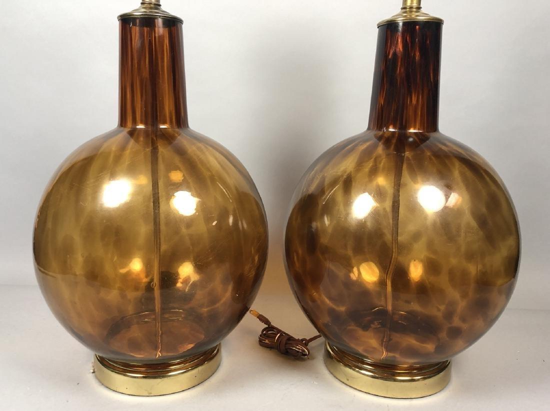 Pr Large Bulbous Tortoise Glass Table Lamps Bras
