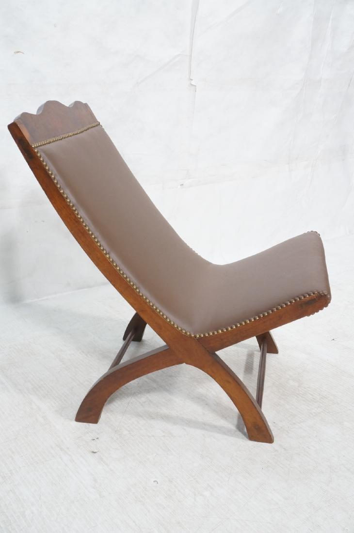CLARA PORSET Butaque Brown Leather Lounge Chair. - 3