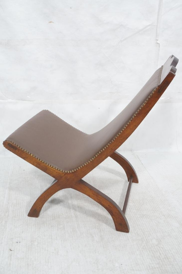 CLARA PORSET Butaque Brown Leather Lounge Chair. - 5
